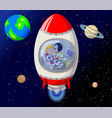 red white rocket with astronaut inside in outer vector image vector image