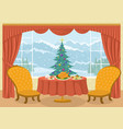 room with christmas tree in window vector image vector image