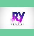 ry r y purple letter logo design with liquid vector image vector image