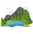 scene with river and mountain vector image