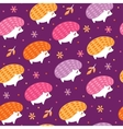 seamless pattern with funny hedgehogs vector image vector image