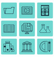 set of 9 school icons includes college vector image