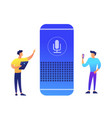 smart speaker and two businessmen vector image vector image
