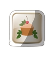 sticker square button with cupcake and leaves vector image vector image