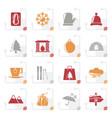 stylized winter sport and relax icons vector image vector image
