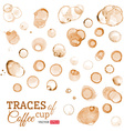 Traces of coffee cup isolated on white background vector image vector image