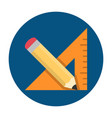 triangle ruler and pencil vector image vector image