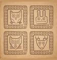 tribal style animal stamps set mayan ornamental vector image