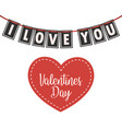 valentines day heart lettering i love you vector image vector image