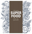 vertical banner with superfood sketch objects vector image vector image
