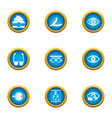 vision control icons set flat style vector image