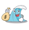 with money bag wave character cartoon style vector image