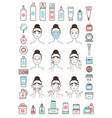 woman takes care of her face skin with creams vector image