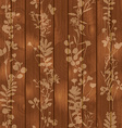 Wooden seamless background with flower elements vector image