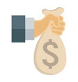 hand holding money bag flat icon business vector image