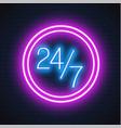 neon 24 7 open sign brick wall vector image