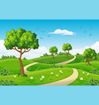 a summer landscape with trees vector image vector image