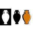 amphora image in brown color and silhouettes in vector image vector image