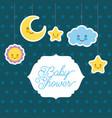 baby shower card greeting cartoon cloud star sun vector image