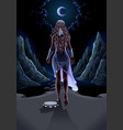 beautiful girl walking alone in night vector image