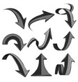 black 3d arrows bent and curled up icons vector image vector image