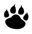 black silhouette paw print isolated on white vector image