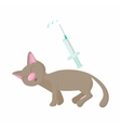 Cat receives an injection icon cartoon style vector image vector image