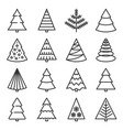 christmas tree icons set on white background vector image
