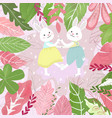 couple rabbit bunny having fun in sweet forest vector image