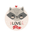 cute cartoon raccoon face vector image