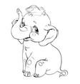 elephant smilingcontour drawing vector image vector image