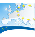europe background with flag and map vector image vector image
