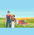 farmer agrarian people work on cattle livestock vector image