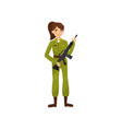 female soldier in green camouflage uniform vector image
