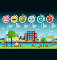 flat design city park with public buildings vector image vector image
