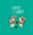 funny paper coffee cup with milk and coffee bean vector image vector image