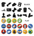garbage and waste flat icons in set collection for vector image vector image