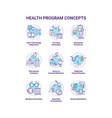 Health program concept icons set