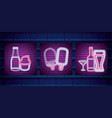ice cream shop with drinks neon light label vector image vector image