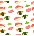 japanese cuisine sushi and rolls made of rise vector image
