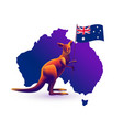 kangaroo map and flag of australia vector image