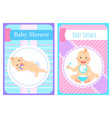 kid with forelock bain diaper card vector image vector image