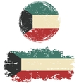 Kuwait round and square grunge flags vector image vector image