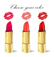 Lipstick isolated with lips trace set on white vector image