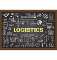 Logistics on chalkboard
