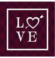 love white frame arrow heart black background vect vector image vector image