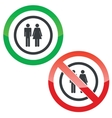 Man and woman permission signs vector image vector image