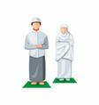 muslim people praying aka shalat in front view vector image vector image