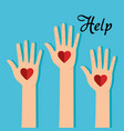 people hands with heart help vector image vector image
