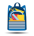school bag filled with supplies icon vector image vector image